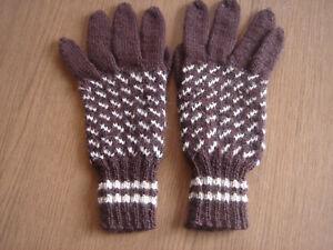 Schöne Fingerhandschuhe, Wollhandschuhe Handarbeit Gr. 7