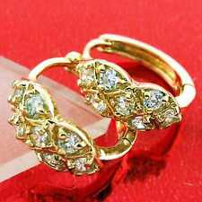 EARRINGS HUGGIE HOOP REAL 18K YELLOW G/F GOLD SOLID ANTIQUE DIAMOND SIMULATED