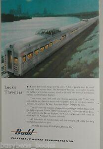 1953 Budd Co. advertisement, BURLINGTON ROUTE streamlined cars