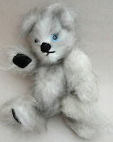 Artist Teddy Bear Plush Fluffy Tipped Faux Mohair Jointed 7in Blue Glass Eyes