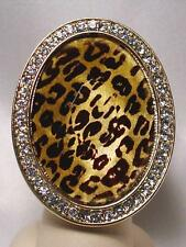 Zebra Leopard Print Wide Oval Crystals Stretch Cocktail Ring