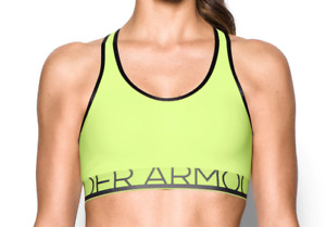 NWT Women's Under Armour Mid Impact Sports Bra Removable Cups Yellow XS