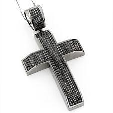 2ct Round Cut Black Diamond Holy Cross Pendant 14k Black Gold Finish NO CHAIN