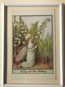 Flower Fairies framed print & handcrafted plaque - Lily-of-the-Valley Fairy