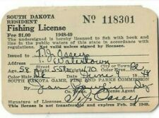 Vintage Resident South Dakota Fishing License 1948-49 ~Owner was train conductor