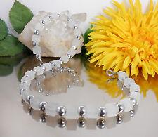 FRECHE Würfelkette Würfel Weiß matt  + METALLIC Perlen Silber