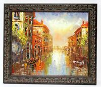 Venice Cityscape Gondola 20 x 24 Art Oil Painting on Canvas w/Custom Frame