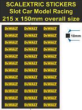 Etiqueta engomada de la ranura de coche scalextric, Dewalt, Modelo RaceTrac Logo Calcomanía Adhesivo Vinilo T3