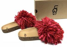 UGG Ribbon Red Cindi Yarn Fringe Cork Sole Slide Sandals US 10/ EUR 41