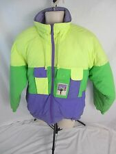 Altitude Zip Front Nylon Ski Jacket Coat  Yellow/Purple/Green  Women's 14  1329