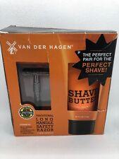 3 Piece Van Der Hagen Long Handle Gunmetal Safety Razor & Shave Butter Gift Set