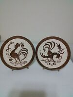 Vintage Mid Century Modern Retro Set of Two Chalkware Chicken Rooster Plaques