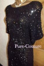 ❤️ WALLIS SIZE M 14  Black Sequin Mini Gatsby 1920's Mini Dress Flawed