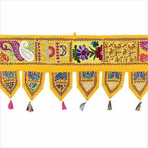 """40""""Yellow Patchwork Indian Vintage Embroidery Toran Handmade Door Hanging Window"""