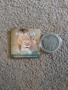 2016 Congo Silver African Lion Antique 1oz .999 with COA in capsule 500 Mintage