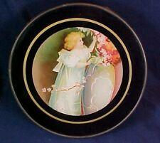 Antique Round Flue Cover Cute Little Girl Flowers Vase Metal Frame Black Framing