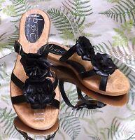 BORN BLACK LEATHER FLORAL SLIP ONS OPEN TOE DRESS SANDALS SHOES US WOMENS SZ 6 M