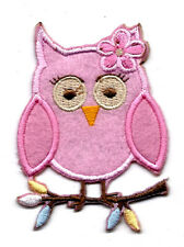 """2X2.5""""  pink Owl IRON ON SEW ON PATCH applique big eyes perch on branch flower"""