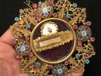 Médaillon Reliquaire Strass Laiton Emaux XIX ème Siècle Relique Saint Art Sacré