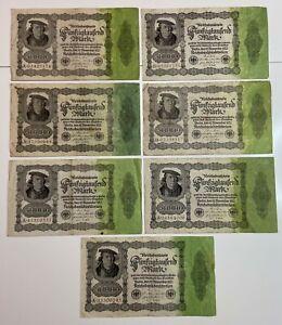 LOT Germany 7 x 50.000 Mark , 1922