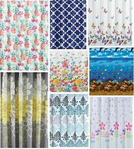 Fabric Shower Curtain Waterproof Polyester Bathroom Curtains free hooks UK thick