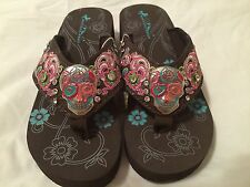 "Montana West Sugar Skull Ladies Flip Flop Coffee Soles 1 1/2"" Wedge Size 8 M NIB"