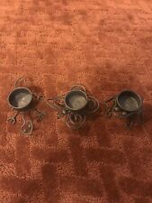 Partylite Votive Candle Holders Frog Butterfly Lizard Brown Metal Set of 3