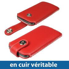 Rouge Etui Cuir Véritable pour Samsung Galaxy Nexus i9250 Android Smartphone