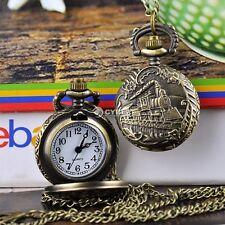 Vintage Bronze Retro Pocket Watch Quartz Train Necklace Pendant Men Lady Gift DZ