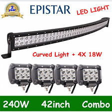 42inch 240W Curved LED Light Bar Combo+4PCS 4'' 18W CREE Offroad Truck Boat DEAL