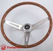 "15"" Laminated Riveted Mahogany Wood Classic Steering Wheel Ford Mustang 3 Bolt"