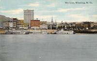 Wheeling WV~Sky Line Along Waterfront~Palace Furniture Company~Steamers~1910 PC