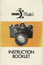 Sigma Mark-1 SLR Original Instruction Book, User Manual, Guide, Instructions