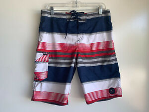 "O'NEILL Men's Red, Blue, White,Gray Striped 21"" Swim Surf Board Shorts Size 32"