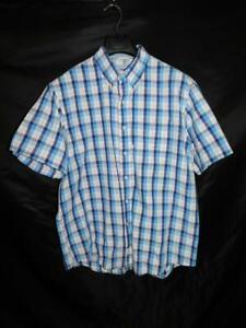 Izod L Purple Blue Plaid Shirt Short Sleeve Button Down Collar Cotton Men Large