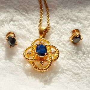 H49 Blue Spinel Necklace And Stud Earrings Set  Gold Over