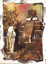 Ruined Mayan temple at Tikal, Guatemala.  Giclee fine art print watercolor