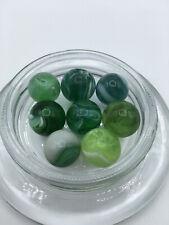 8 Vintage Christensen Green Glass Marbles