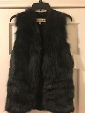 New Sebby Collection Fashion Black Vest Faux Fur Size S/P