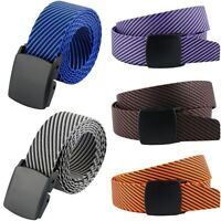 Men Striped Solid Nylon Plastic Buckle Military Tactical Web Casual Belt Strap