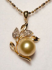 10mm golden South Sea pearl pendant, diamonds, solid 14k yellow gold.