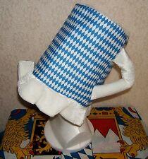 Bavarian German Trachten Beer Bier Beermug Hat Wiesn Oktoberfest Blue White  NEW