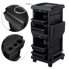 Premium Locking Rolling Trolley Cart with Pocket Inserts Salon Color Black