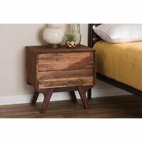 Mid-Century Modern 2-Drawer Nightstand Bedside Table Rustic Farmhouse Wood Brown