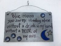 One Of A Kind Blue Moon Beer 20th Anniversary Man Cave Wood Plaque NC Artist