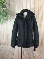 Women's Juniors $69 Rampage Hooded Warm Winter Puffer Coat Black, Small