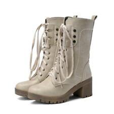 Cute Womens Med Heel Mid-Calf Boots Shoes Platform Corset US Size VICT