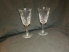 """(2) Pair Of Waterford Crystal LISMORE 5 1/4"""" Sherry Stems  - Ireland"""