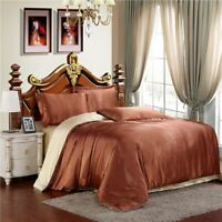 Pure Multicolors Satin Silk Fitted Sheet Bed Flat Sheet Bedding Set Pillow Case