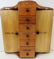 Antique Vintage Wall Mount Maple Wood Cabinet Sewing & Tool Organizer
